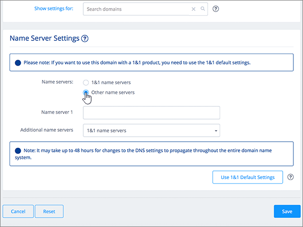 Selectarea opțiunii Other name servers (Alte servere de nume) din secțiunea Name Server Settings (Setări server de nume)