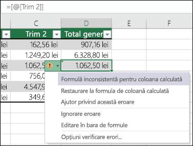 Notificare de eroare în formulă inconsistentă într-un tabel Excel