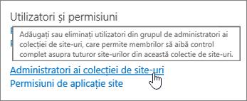 Administratori ai colecției de site-ul evidențiată sub utilizatori și permisiuni