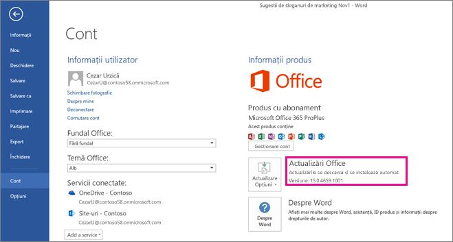 Căutarea actualizărilor Office în Word