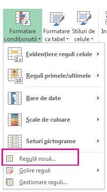 Butonul Formatare condițională pe fila Pornire