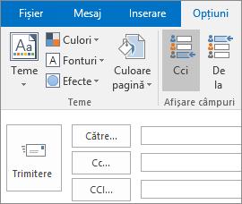 Pentru a activa caseta Cci, deschideți un mesaj nou, alegeți fila Opțiuni și, în grupul Afișare câmpuri, alegeți Cci.