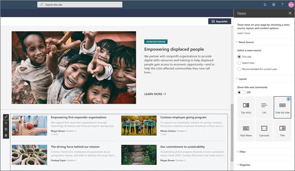Panoul știri la editarea părții Web știri într-o pagină SharePoint modernă