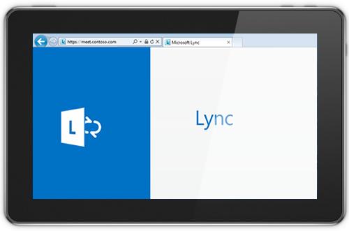 Captură de ecran afișând ecranul principal pentru Lync Web App