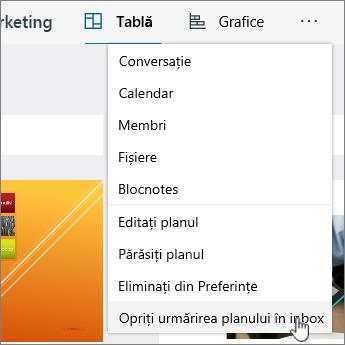 Faceți clic pe plan de urmărire în inbox pentru a vă abona la un plan