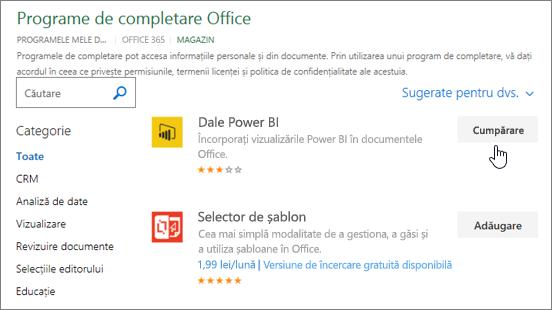 Captură de ecran a paginii de completare Office, unde puteți selecta sau căutați un program de completare pentru Excel.