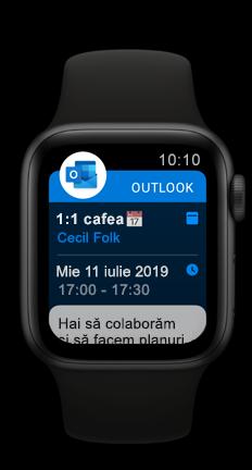 Apple Watch afișând rezervarea viitoare a calendarului Outlook