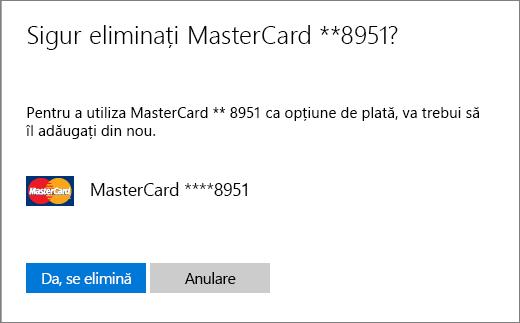 Pagina de verificare pentru eliminare unui card de credit.