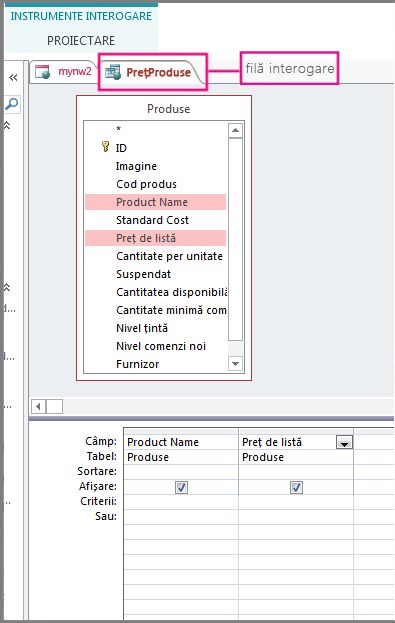Vizualizarea Proiectare interogare evidențiind fila de interogare