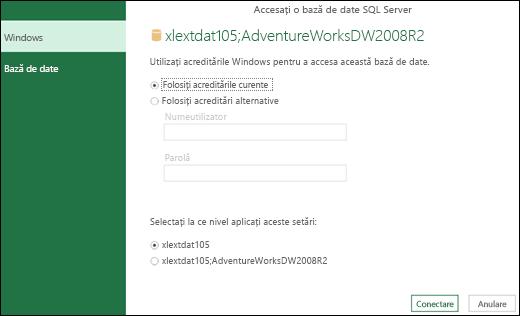 Power Query - Opțiunea de setare a acreditărilor la nivel de server
