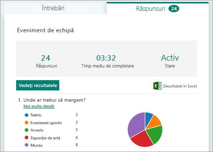 Vizualizarea rezultatelor specifice, cum ar fi numele și ora finalizării, fiecare respondent