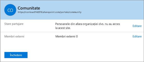 Caseta de dialog cu starea de partajare pentru o anumită colecție de site-uri, cu partajarea dezactivată.