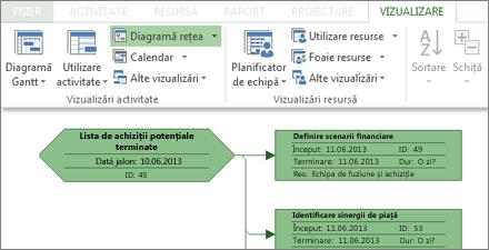 Grupul Vizualizări activitate pe panglică și parte din Diagrama de rețea eșantion