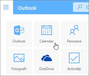 O captură de ecran ce afișează dala Calendar selectată.