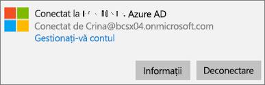 Faceți clic pe sau atingeți Informații din caseta de dialog Azure AD.