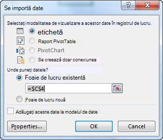 Caseta de dialog Import date din Excel