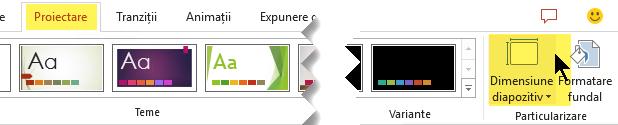 Butonul dimensiune diapozitiv este în capătul din extremitatea dreaptă de pe fila proiectare din bara de instrumente panglică