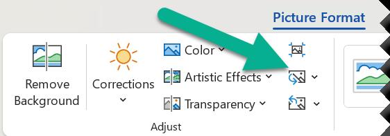 Faceți clic pe fila Format și apoi faceți clic pe modificare imagine