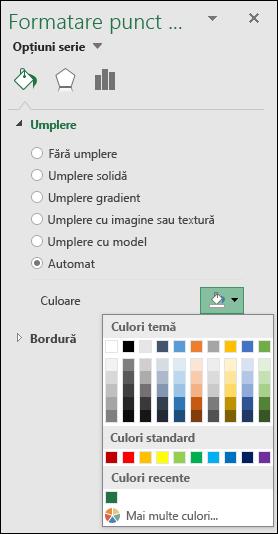 Opțiuni de culoare diagramă hartă Excel pentru diagramele de categorii