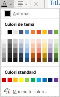 Captură de ecran a opțiunii Culoare font în meniul Pornire.