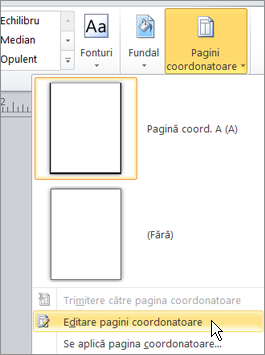 Selectați Editare pagini coordonatoare în meniul de pagini coordonatoare