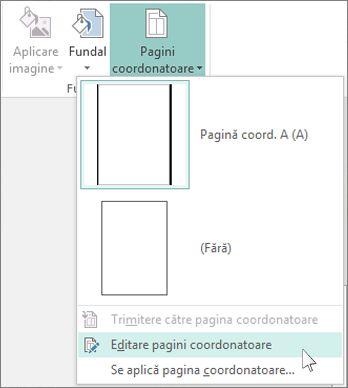 Captură de ecran cu lista verticală Editare pagini coordonatoare din Publisher.