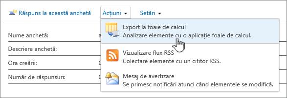 Anchetă butonul export către foaie de calcul evidențiată