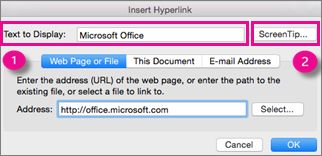 Caseta de dialog Hyperlink din Office for Mac
