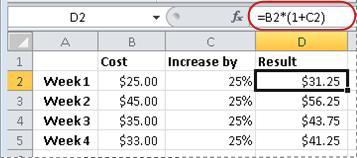 Exemplu de formulă pentru calculul unui procent