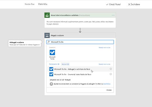 Captură de ecran cu Microsoft To-Do selectat