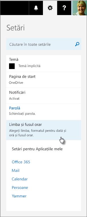 Panoul setări Office 365.