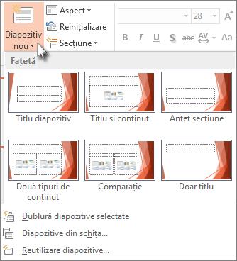 Noile aspecte de diapozitiv din PowerPoint.