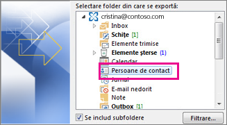 Exportul persoanelor de contact