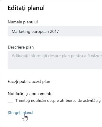 De la un plan de editare, faceți clic pe Ștergere plan