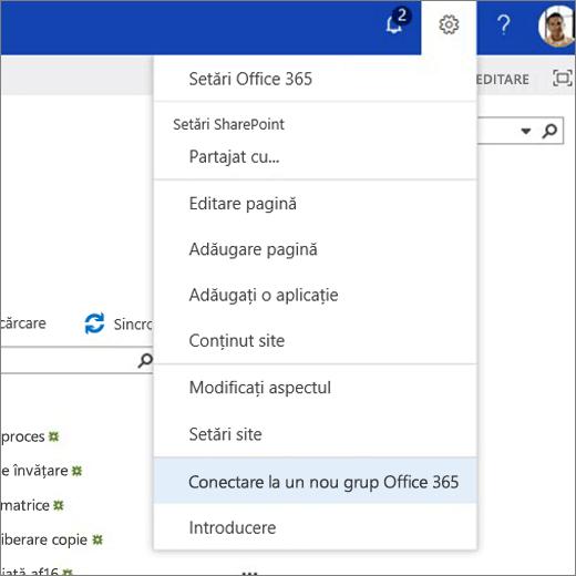 Această imagine afișează meniul de pictograma rotiță dințată și selectat conectarea la Office 365 grup nou.