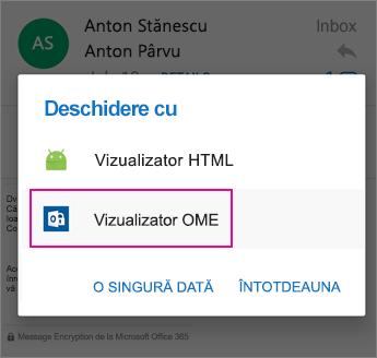 Vizualizator OME cu Outlook pentru Android 2