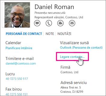 Butonul Legare contacte din cartea de vizită