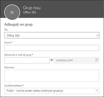 Crearea unui nou grup Office 365, a unei liste de distribuire noi sau a unui grup de securitate nou