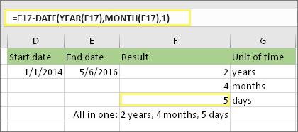 """=DATEDIF(D17,E17,""""md"""") și rezultatul: 5"""