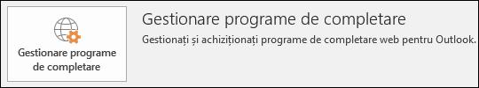 Butonul Gestionare programe de completare din Outlook