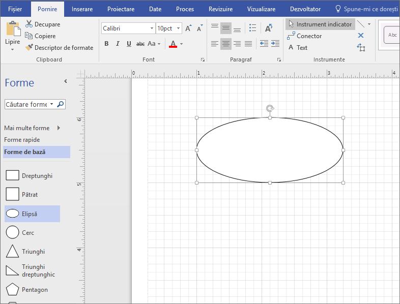 Glisați o formă din tiparul Forme de bază pe panoul de desen.