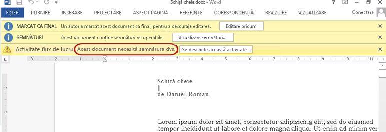 Identificarea textului în elementul de examinat