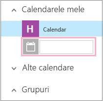 Adăugați un nume la un calendar nou.