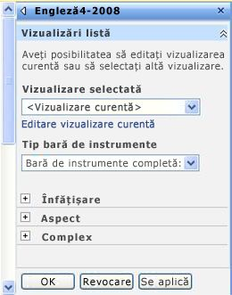 Panoul de instrumente parte Web unde se pot configura proprietățile părții Web.
