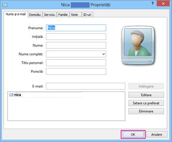 Alegeți OK pentru fiecare persoană de contact pe care doriți să o importați în fișierul csv.