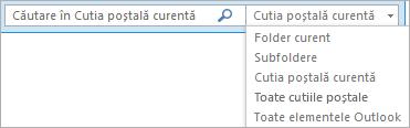 În Outlook, utilizați caseta de căutare sau alegeți o listă de cutie poștală sau un folder pentru a găsi grupul Domeniu.
