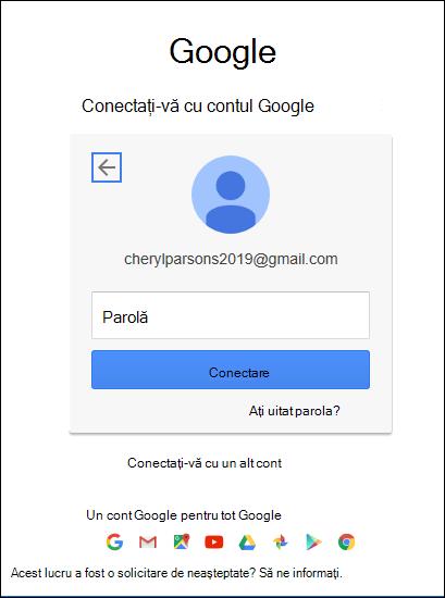 Introduceți parola Gmail.