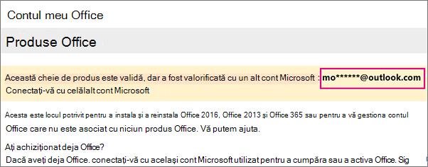 Pagina Contul meu Office afișând parțial contul Microsoft
