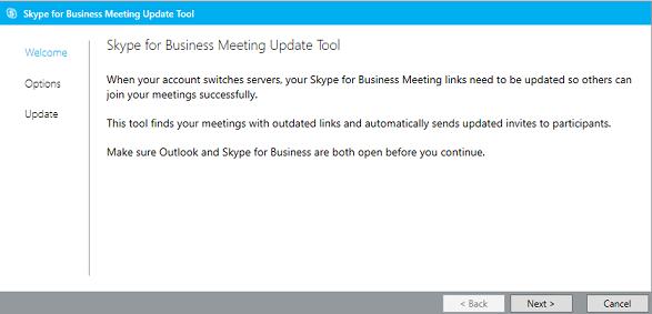 Captură de ecran a paginii Bun venit din Instrumentul de actualizare a întâlnirilor