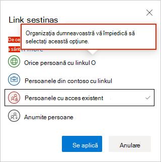 Setări link web OneDrive